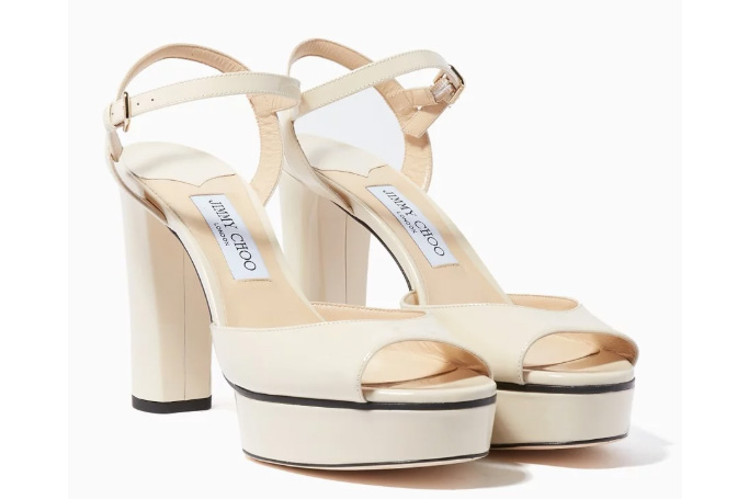 Jimmy Choo - Linen Patent-Leather Peachy Sandals